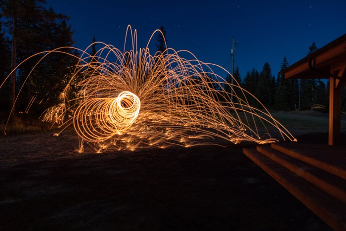 steel wool photography with spiral effect