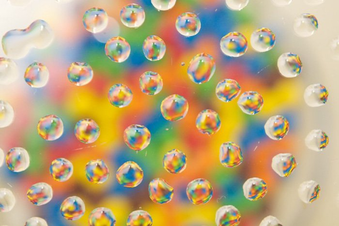 photo of water drops with a colorful background