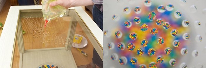diptych photo of creating water droplets on a glass surface