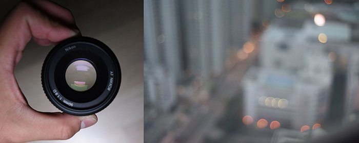 close-up photo of a lens and bokeh effect with 50mm at f1.8