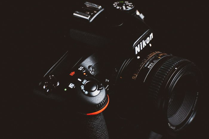 A Nikon DSLR camera