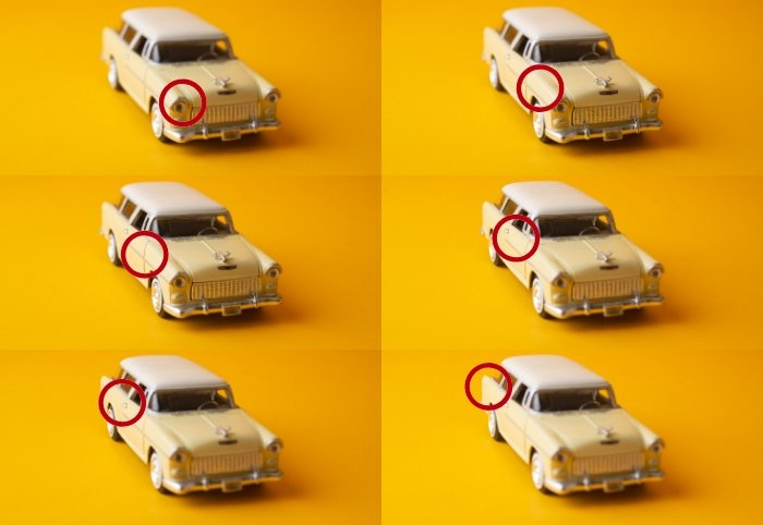 6 image grid of a toy car with a circle indicating the focal plane of each