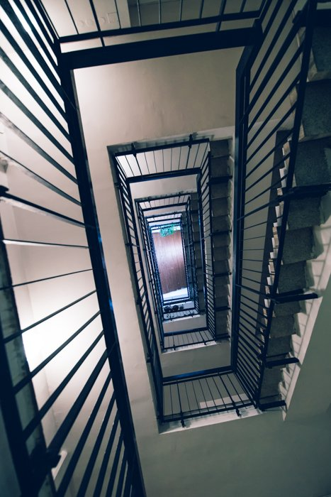 A staircase shot from below