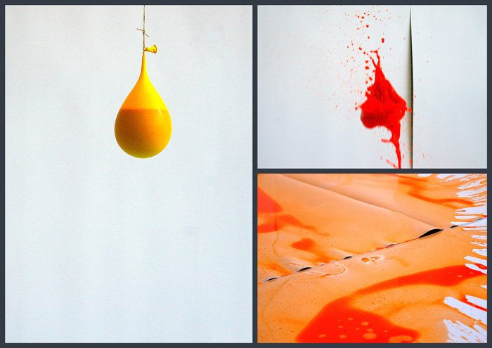 triptych of photographing a popping balloon