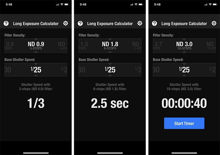 Long Exposure Calculator app screen shot showing a baseline shutter speed of 1/25th of a second and the changes to the shutter speed depending on what ND filter I choose at the top.