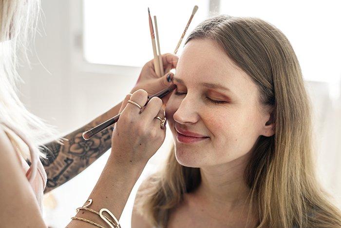 Makeup artist at work.