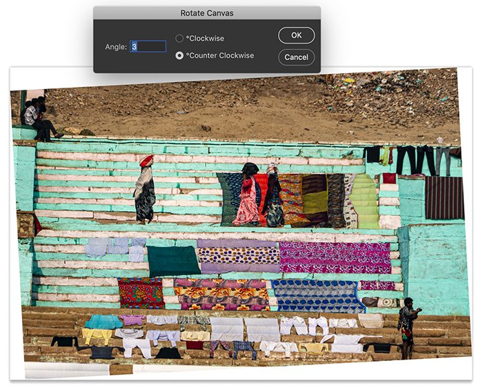 Screenshot of Photoshop workspace. Image rotated 3 degrees counter clockwise using the Arbitrary tool in Image Rotation.