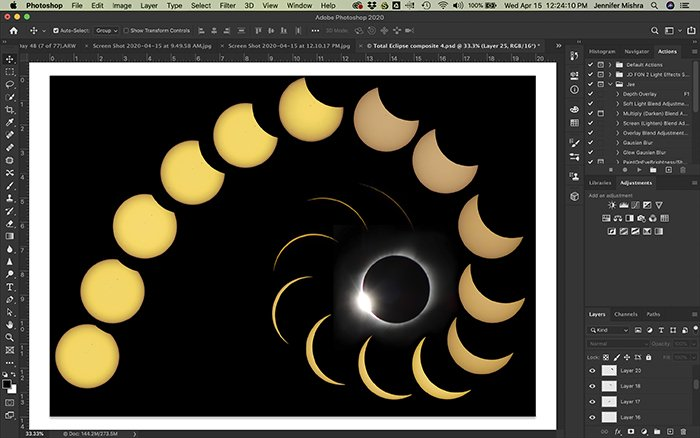 Screenshot of Photoshop workspace. A montage of layered eclipse images Free Transform tool.