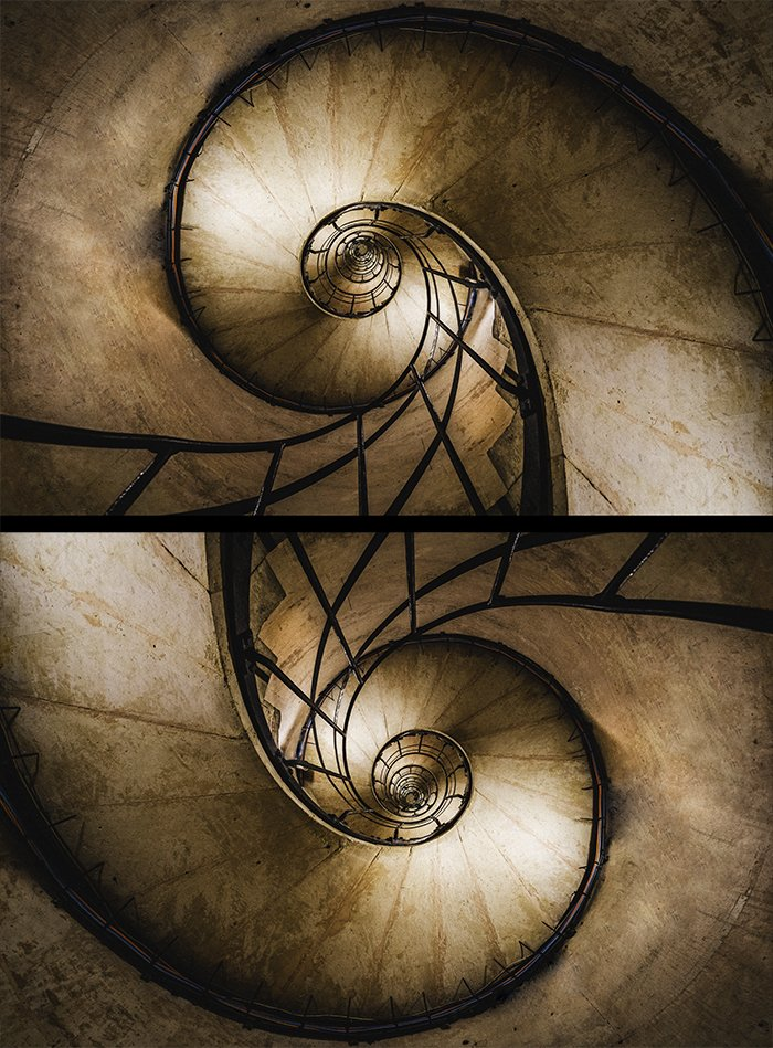 Diptych of a rotated spiral staircase