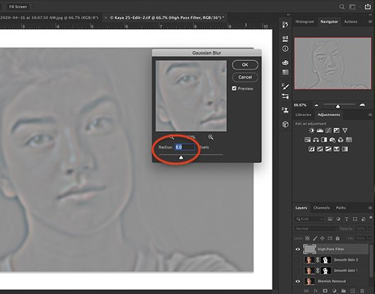 Screenshot of Photoshop workspace showing Gaussian Blur dialogue box and results.