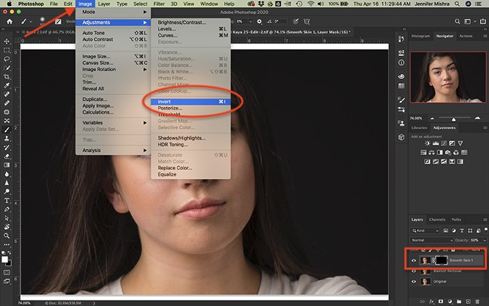 Screenshot of Photoshop workspace showing how to create an inverted layer mask.
