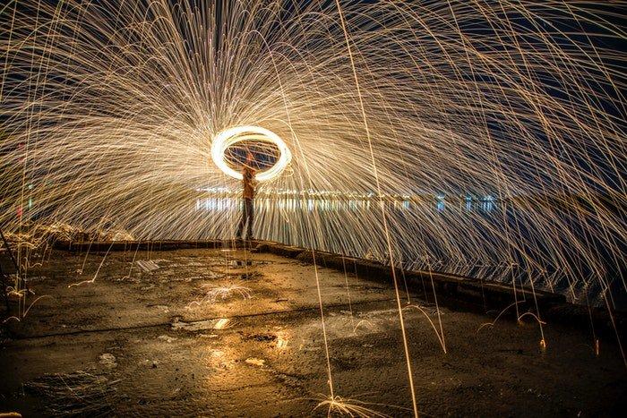 steel wool photography with rain effect