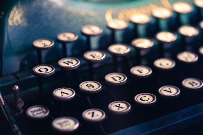 Close up of an old typewriter