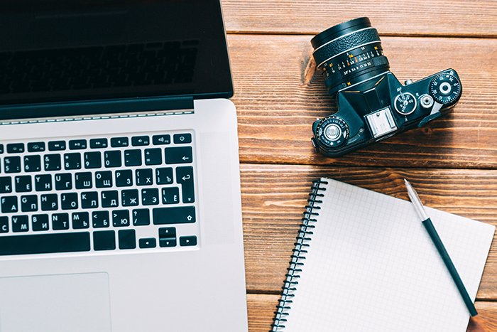 A photographer's workspace.