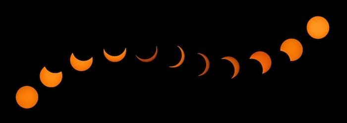 composite image showing the phases of a solar eclipse