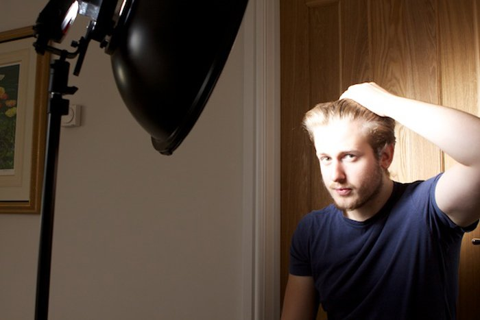Portrait set up with a beauty dish lighting