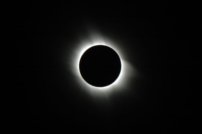 solar corona showing at total solar eclipse