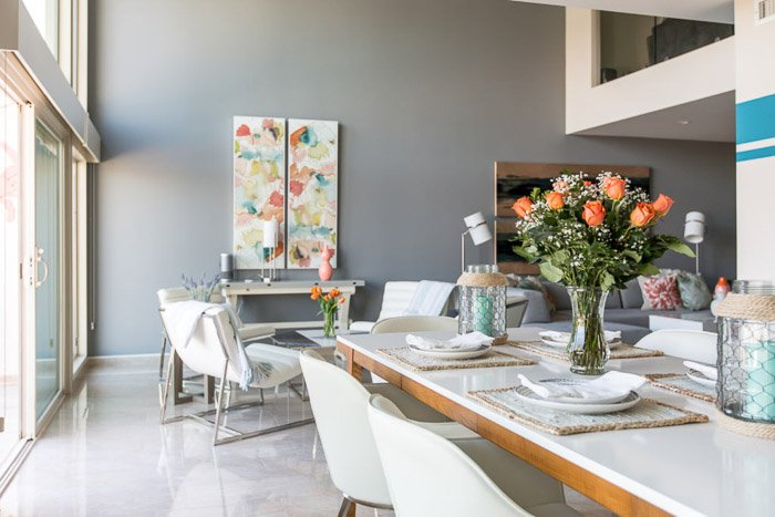 An interior photography image of a dining room