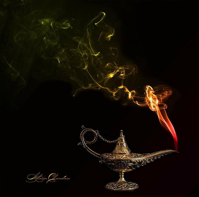 photo of a genie bottle with smoke coming out of it