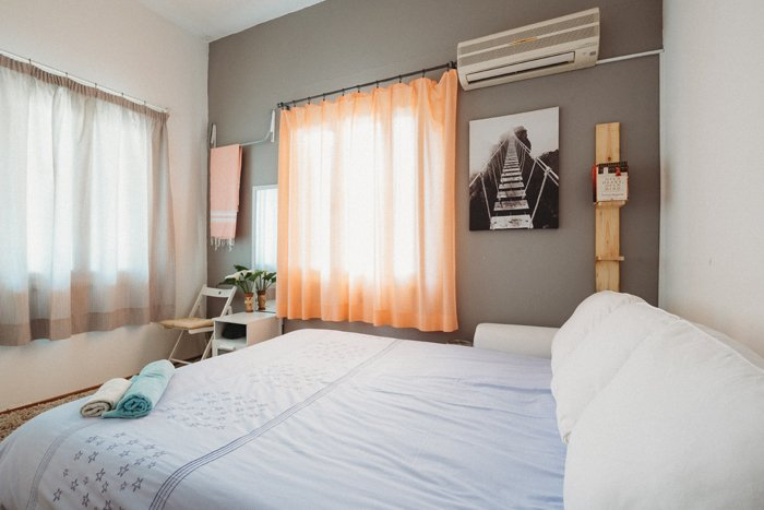 Bright and airy bedroom photo shot for airbnb