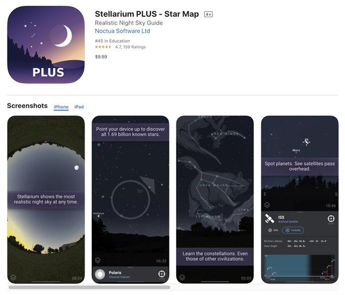 Screenshot of Stellarium Plus