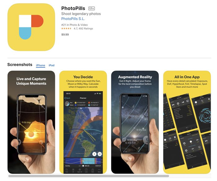 Screenshot of PhotoPills