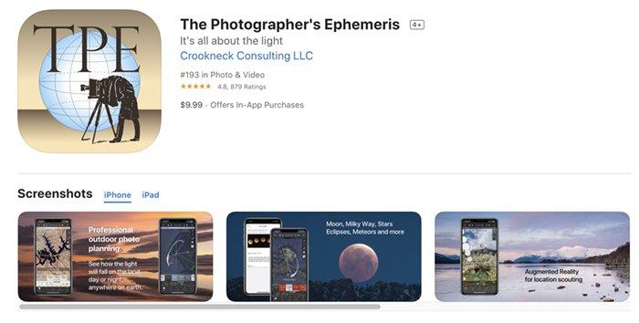Screenshot of The Photographer's Ephemeris