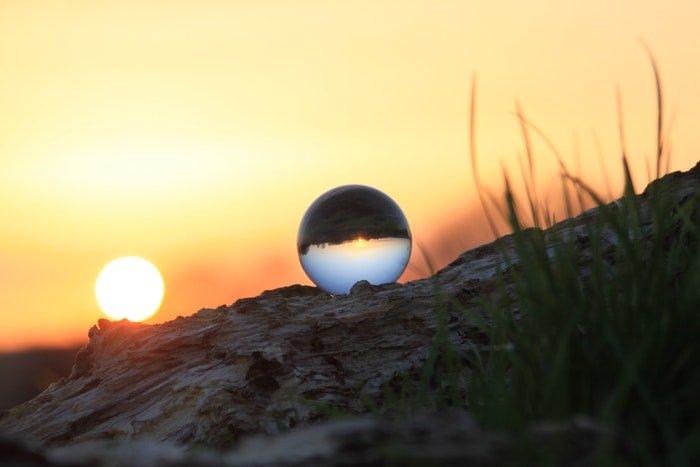 A sunset shot through a lensball