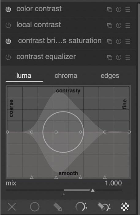 Screenshot of Darktables contrast equalizer tool