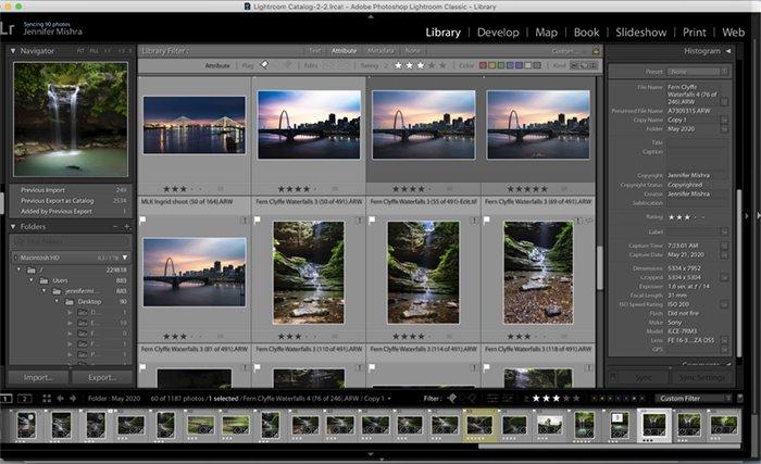 Screenshot of Lightroom's Library module interface.