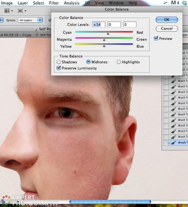 editing an abstract portrait of Josh Dunlop from ExpertPhotography