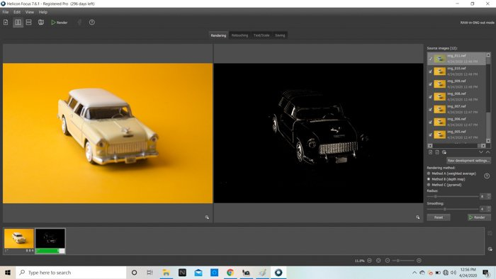 A screenshot of focus stacking in Helicon Focus