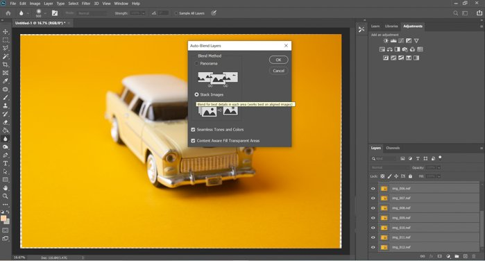 A screenshot of auto-blending layers in Photoshop