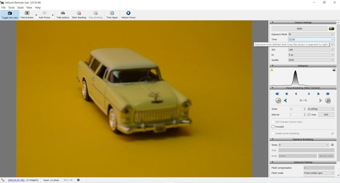 A screenshot of focus stacking in Helicon Soft