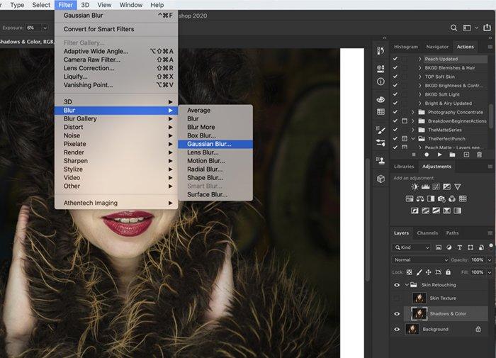 Screenshot showing how to navigate to Gaussian blur. in Photoshop