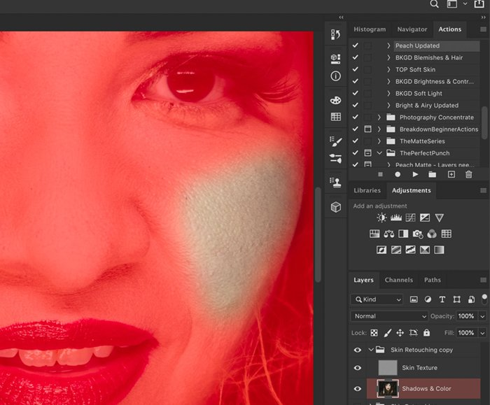 Screenshot of using a quick mask to edit a portrait with frequency separation