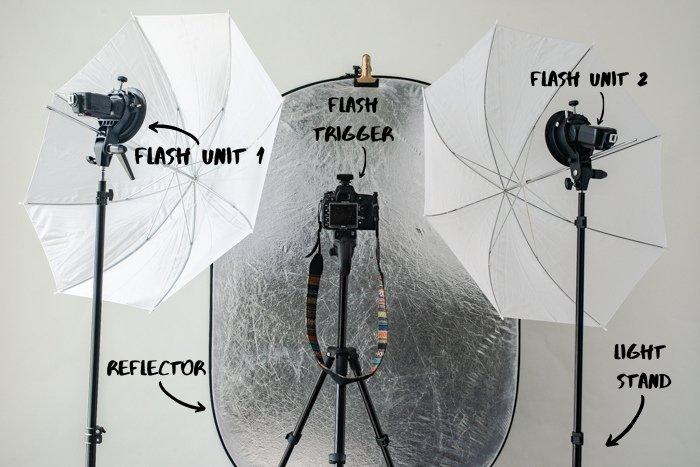 Photography studio lighting setup