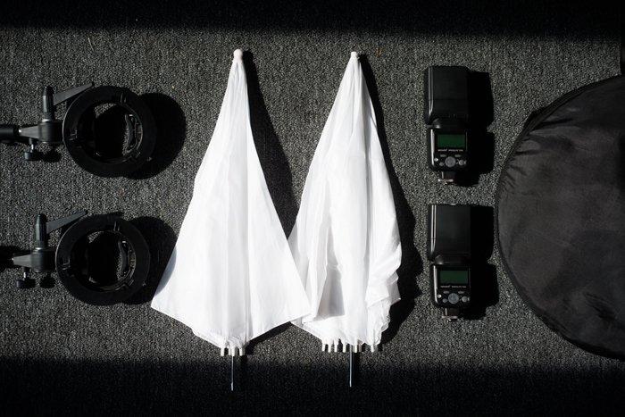 Photography lighting equipment flatlay