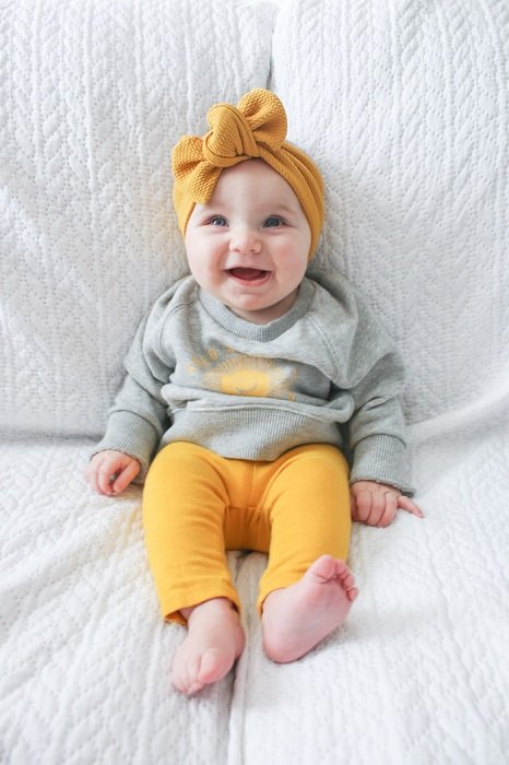 Photo of a baby in a home photography studio