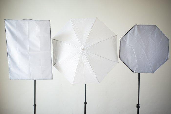 Three reflectors in a studio