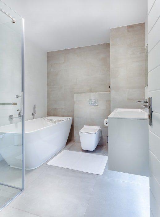 A clean white hotel bathroom