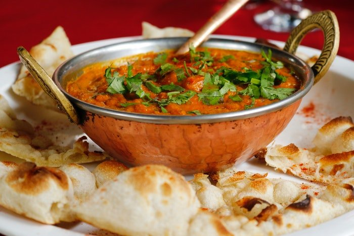Indian food photography from an angle