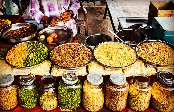 Indian food and spices at a market vendor