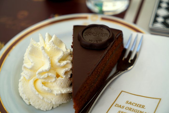Close up of a slice of chocolate cake and whipped cream