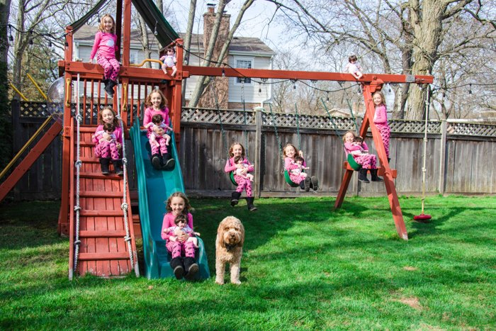 A multiplicity photo of a cloned kid playing