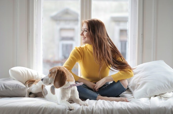 A girl sitting on a bed with a dog