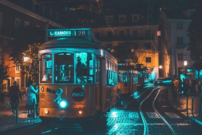 Night scene with a tram
