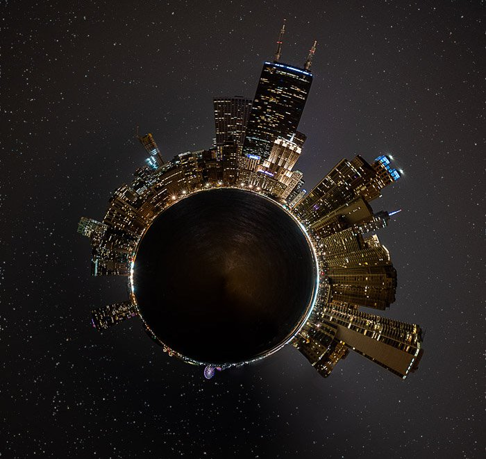 Final little planet photo of the Chicago skyline