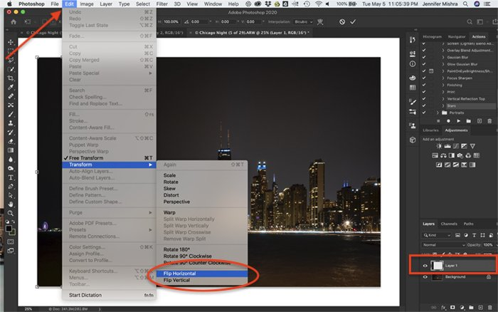 Screenshot of Photoshop. Shows copied left part of the image copied onto a new layer and procedure to flip the layer horizontally.