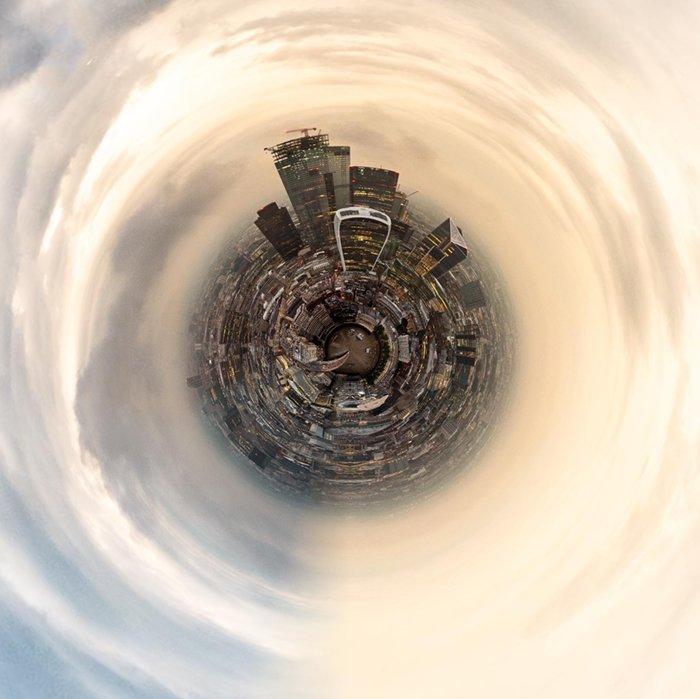Tiny London skyline created with Tiny Planets app